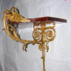 Antigüedades: PEANA O MÉNSULA MODERNISTA ORIGINAL DE 1900 DE BRONCE Y CAOBA. Lote 94035440