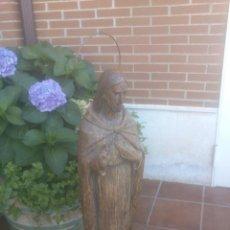 Antigüedades: GRAN FIGURA JESÚS SOBRE PEANA DE MADERA.MAS DE UN METRO.. Lote 94088790