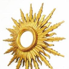 Antigüedades: ESPECTACULAR ESPEJO EN MADERA DORADA TIPO SOL DOBLE HILADA TRIPLE TALLA VINTAGE POPPAN DE ORO. Lote 94097865