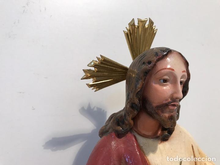 Antigüedades: SAGRADO CORAZON ENTRONIZADO DE ESTUCO ANTIGUO , 29CM. - Foto 3 - 94098945