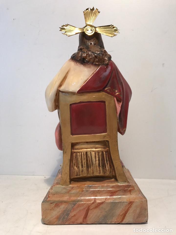 Antigüedades: SAGRADO CORAZON ENTRONIZADO DE ESTUCO ANTIGUO , 29CM. - Foto 8 - 94098945
