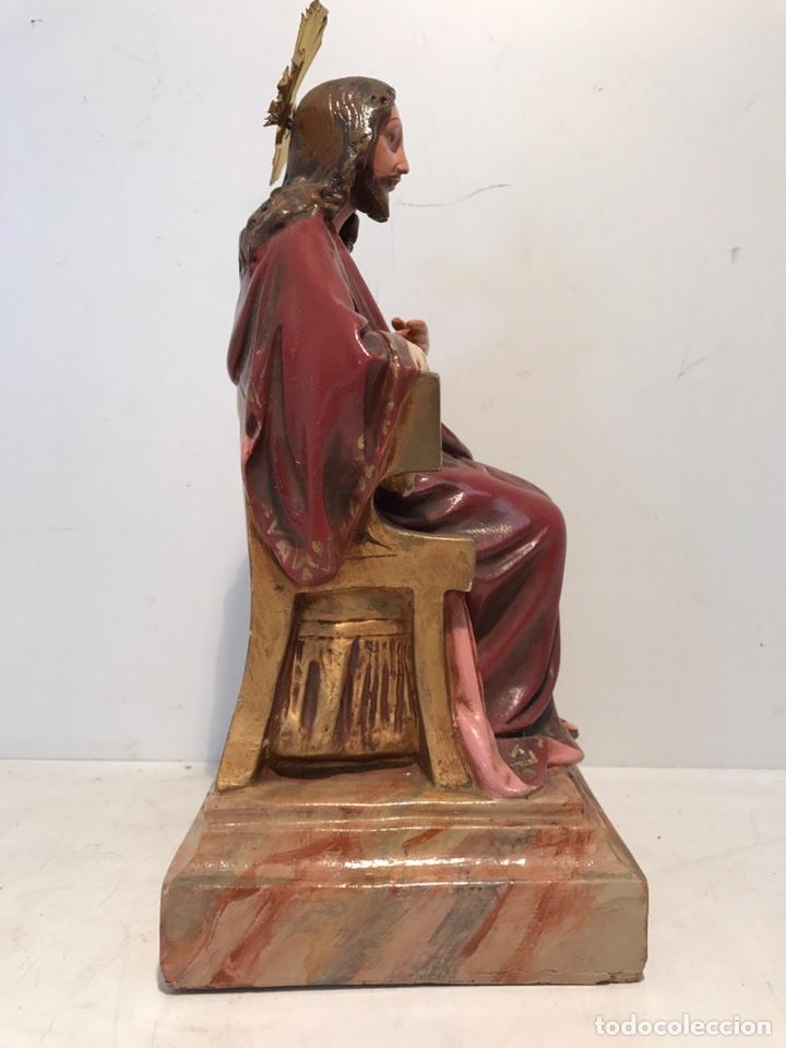 Antigüedades: SAGRADO CORAZON ENTRONIZADO DE ESTUCO ANTIGUO , 29CM. - Foto 9 - 94098945