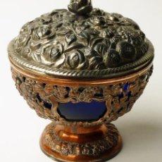 Antigüedades: RARA BOMBONERA COPA ANTIGUA JAPONESA MODERNISTA DISEÑO FLORAL ART NOUVEAU MADE IN JAPAN SIGLO XIX. Lote 94163945