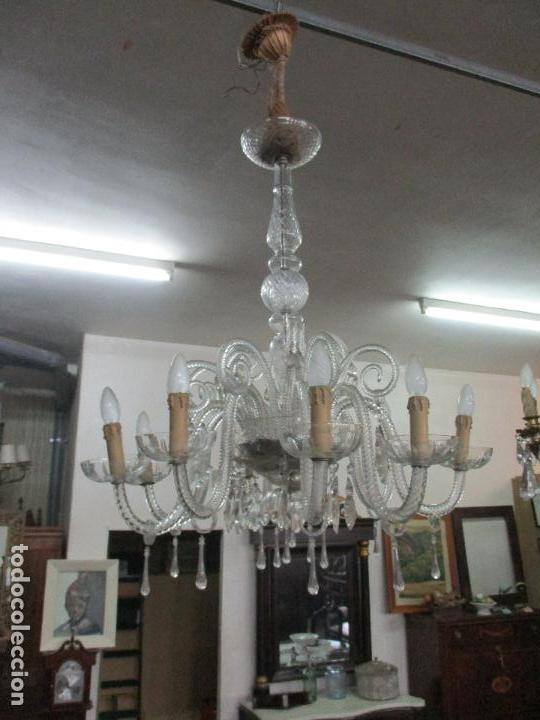 Antigua Lámpara de Techo - Cristal Tallado - Vidrio - 8 Luces - Funciona -  Ideal Comedor, Salón, etc