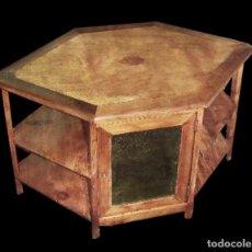 Antigüedades: RAREZA:PRECIOSA MESA DE MADERA DE PINO Y NOGAL PARA DELANTE DEL SOFÁ.. Lote 27505468