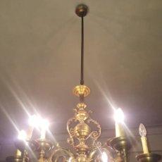 Antigüedades: LAMPARA DE GAS ELECTRIFICADA CON 3 BRAZOS. BRONCE DORADO. ESPAÑA. SIGLO XIX.. Lote 94297958