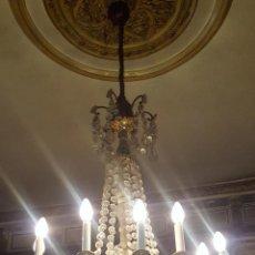 Antigüedades: LAMPARA ARAÑA. CRISTAL TALLADO. BRONCE. 12 LUCES. ESPAÑA. PRIMERA MITAD SIGLO XX.. Lote 94307230