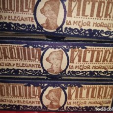Antigüedades: HORQUILLA VICTORIA - AÑOS 20/30 - 3 CAJITAS CON HORQUILLAS - LA METALURGICA ESPAÑOLA - BARCELONA. Lote 94382698