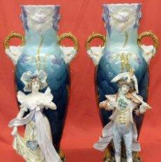 Antigüedades: ESPECTACULAR PAREJA DE JARRONES TIPO FLOREROS EN PORCELANA MAJOLICA. ART NOUVEAU. AÑOS 30. Lote 94384806