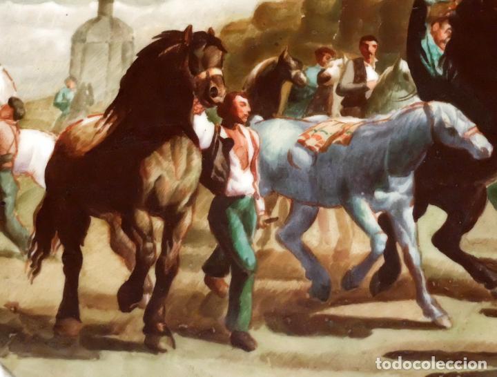 Antigüedades: SENSACIONAL PAREJA DE PLATOS EN PORCELANA DE SANTA CLARA CON ESCENAS PINTADAS A MANO. CIRCA 1920 - Foto 7 - 94385706