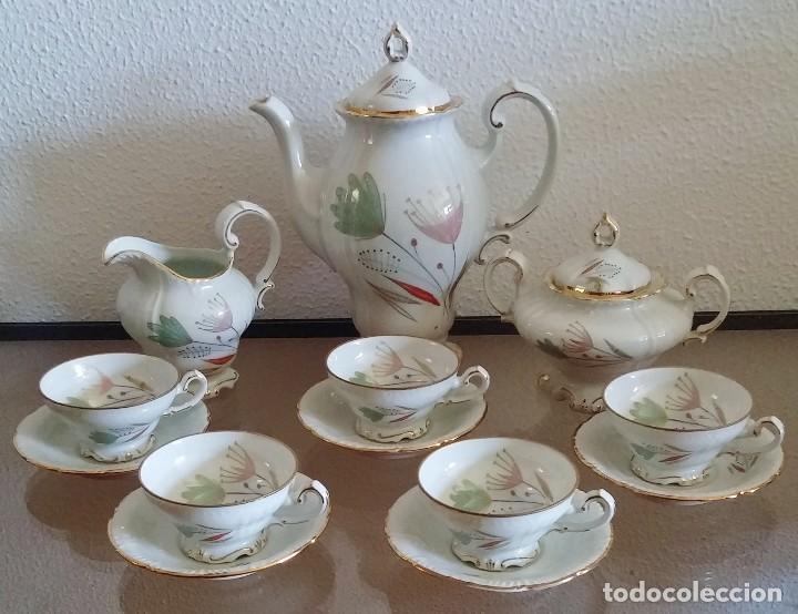 JUEGO DE CAFÉ PORCELANA SANTA CLARA - 5 SERVICIOS - REF. 776 (Antigüedades - Porcelanas y Cerámicas - Santa Clara)