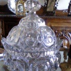 Antigüedades: IMPORTANTE PIEZA. COMPOTERA CON PLATO DE CRISTAL GRUESO DE SANTA LUCÍA, CARTAGENA. Lote 94340294