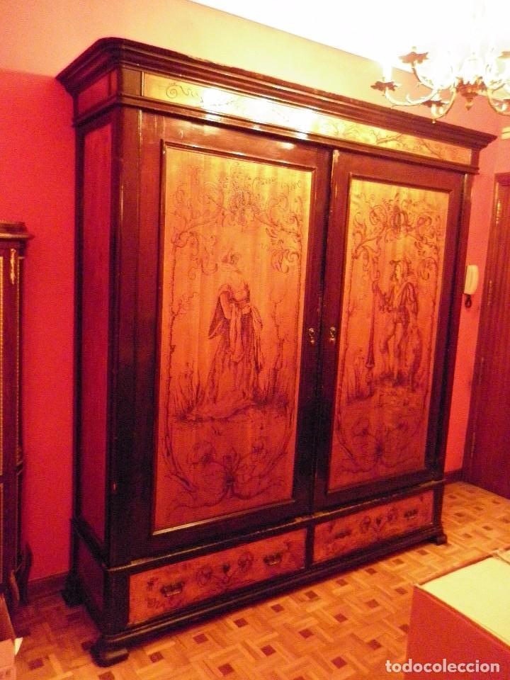 Espectacular armario antiguo de limoncillo y pa comprar - Armario antiguo segunda mano ...