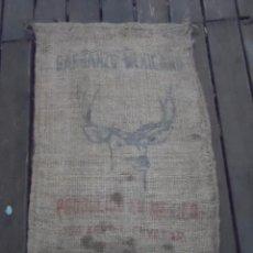 Antigüedades: SACO DE ARPILLERA YUTE GARBANZO MEXICANO CIERVO. Lote 94442534