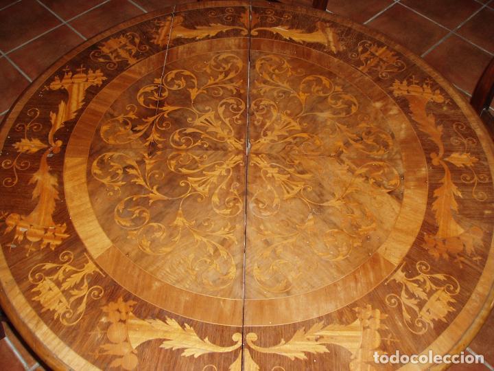 ANTIGUA MESA ISABELINA CON MUCHA MARQUETERIA. ORIGINAL DE LA EPOCA, UNA JOYA. MAXIMA CALIDAD. (Antigüedades - Muebles Antiguos - Mesas Antiguas)