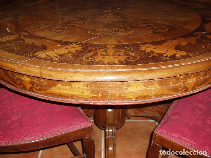 Antigüedades: ANTIGUA MESA ISABELINA CON MUCHA MARQUETERIA. ORIGINAL DE LA EPOCA, UNA JOYA. MAXIMA CALIDAD. - Foto 2 - 94454254