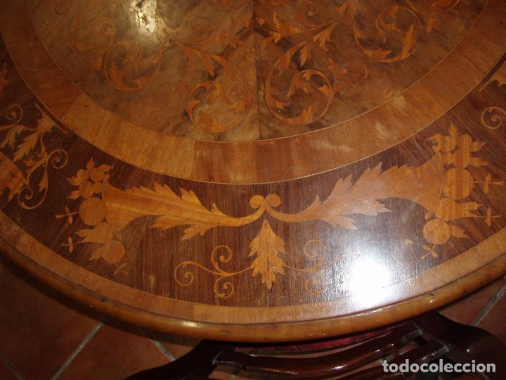 Antigüedades: ANTIGUA MESA ISABELINA CON MUCHA MARQUETERIA. ORIGINAL DE LA EPOCA, UNA JOYA. MAXIMA CALIDAD. - Foto 5 - 94454254