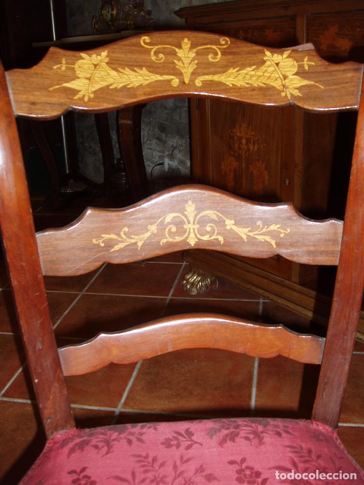 Antigüedades: 4 SILLAS ISABELINAS CON MARQUETERIA. UNA JOYA. MAXIMA CALIDAD. - Foto 3 - 94454810