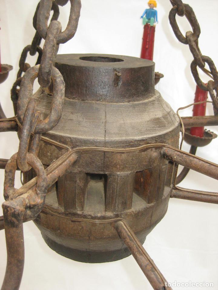 Antigüedades: BESTIAL !! LAMPARA ANTIGUA ORIGINAL ESTILO GOTICA MEDIEVAL EN FORJA Y MADERA TIPO JUEGO DE TRONOS - Foto 5 - 94463202