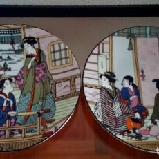 Antigüedades: PAREJA DE PLATOS DECORATIVOS DE PORCELANA SANBO FIRMA DE ARTISTA PINTOR CHINO - REF. 784. Lote 94464130