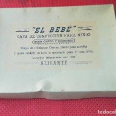 Antigüedades: TRAJE DE CRISTIANAR - AÑOS 30 - EN SU CAJA - EL BEBE - ALICANTE - CALLE MAYOR, 12. Lote 94516358