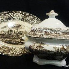 Antigüedades: GRAN SOPERA OCHAVADA Y GRAN FUENTE DE CARTUJA SEVILLA PICKMAN PPS S XX. Lote 94551559
