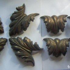 Antigüedades: JUEGO DE ADORNOS DE BRONCE PARA MARCO GRANDES. Lote 94586527