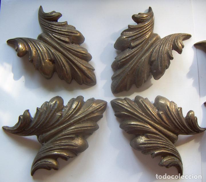 Antigüedades: Juego de adornos de bronce para marco grandes - Foto 2 - 94586527