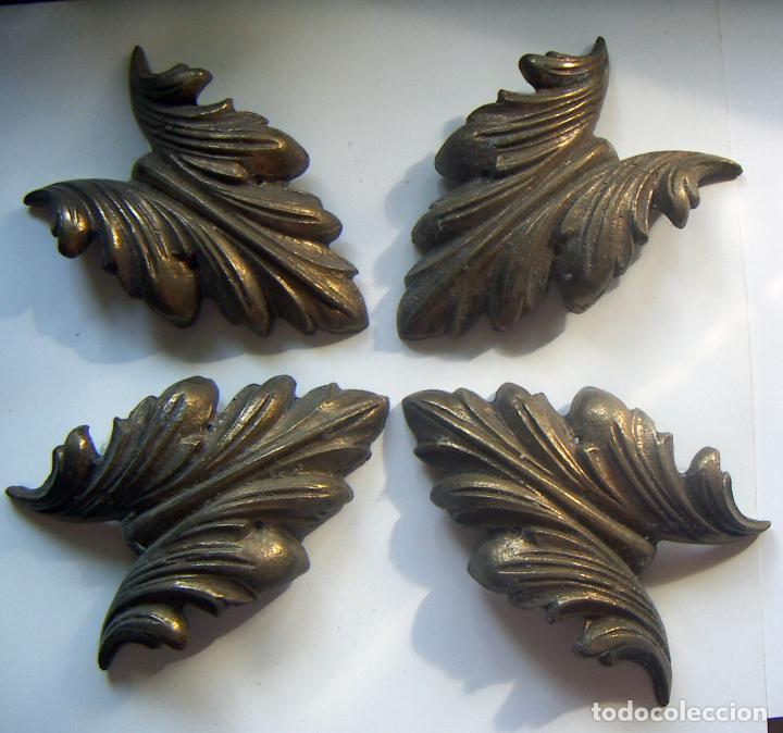JUEGO DE ADORNOS DE BRONCE PARA MARCO GRANDES (Antigüedades - Hogar y Decoración - Marcos Antiguos)