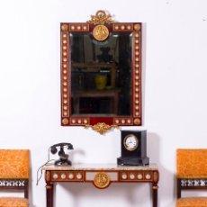 Antigüedades: CONSOLA Y ESPEJO EN BRONCE Y PORCELANA. Lote 94593999