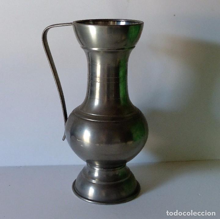 ANTIGUA JARRA GRANDE DE ESTAÑO CON 35 CM !!!! (Antigüedades - Técnicas - Rústicas - Utensilios del Hogar)