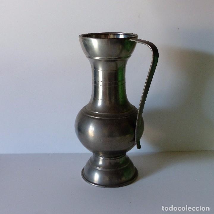 Antigüedades: Antigua JARRA GRANDE DE ESTAÑO con 35 cm !!!! - Foto 3 - 94599259