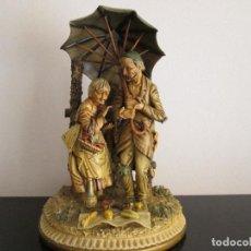 Antigüedades: FIGURA GRANDE MERIENDA DE ABUELOS CON PARAGUAS VEAN FOTOGRAFIAS Y DESCRIPCION. Lote 94629563