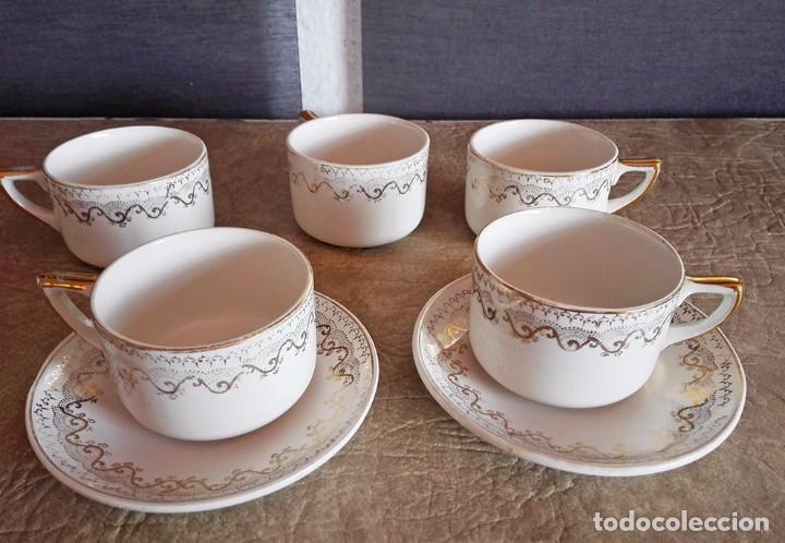 JUEGO TAZAS Y PLATOS CAFE TACITAS PLATITOS PORCELANA PICKMAN CARTUJA SEVILLA (Antigüedades - Porcelanas y Cerámicas - La Cartuja Pickman)