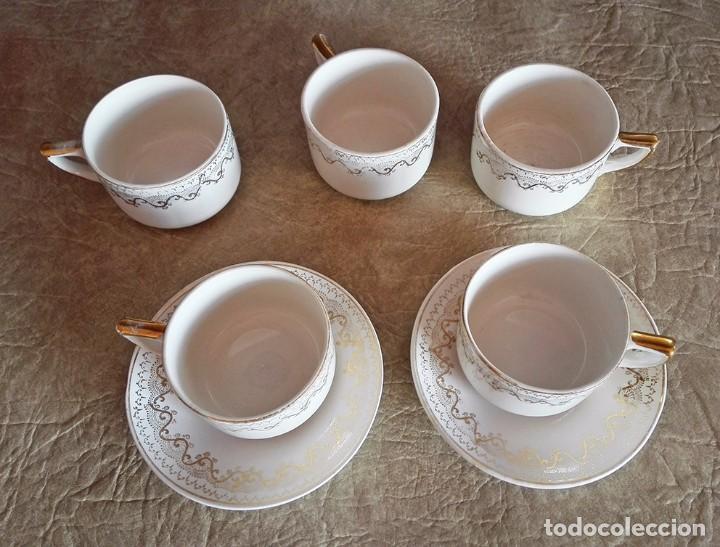 Antigüedades: juego tazas y platos cafe tacitas platitos porcelana pickman cartuja sevilla - Foto 2 - 94630947