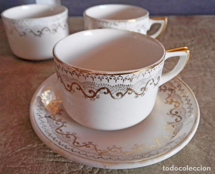 Antigüedades: juego tazas y platos cafe tacitas platitos porcelana pickman cartuja sevilla - Foto 3 - 94630947