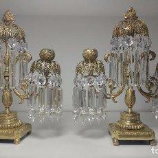 Antigüedades - Pareja de candeleros de bronce y cristal, principios siglo XIX circa 1820 - 94641295