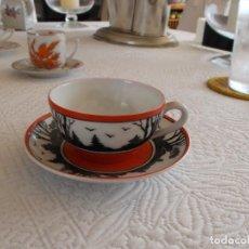 Antigüedades: PRECIOSA TAZA Y PLATO CAFÉ FIRMADO EPIAG D.F. CHECOSLOVAQUIA SIGLO XIX A MANO PRECIO: 125,00 €. Lote 94667511