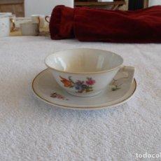 Antigüedades: AMTIGÜA TACITA Y PLATO CAFE MODERNISTA FIRMADOS MANUFACTURAS CERAMICAS S.A. BARNA . Lote 94671539