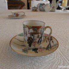 Antigüedades: AMTIGUA TACITA DE CAFÉ CHINA CON PLATO CASCARA SIGLO XIX PINTADA A MANO ORO. Lote 94673631