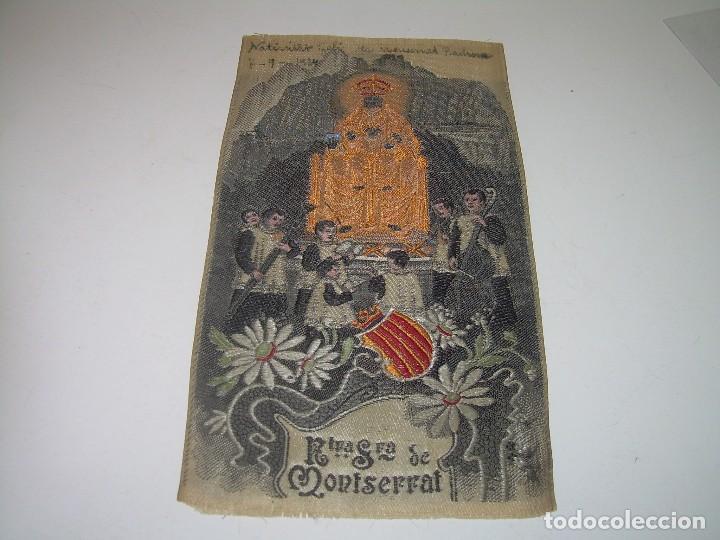 ANTIGUO ESCAPULARIO DE TELA....NTA.SRA. DE MONTSERRAT..DE TELA..REALIZADO EN JACQUARD....AÑO..1.924. (Antigüedades - Religiosas - Escapularios Antiguos)