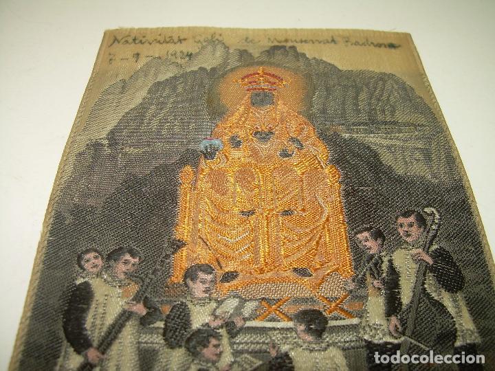 Antigüedades: ANTIGUO ESCAPULARIO DE TELA....NTA.SRA. DE MONTSERRAT..DE TELA..REALIZADO EN JACQUARD....AÑO..1.924. - Foto 2 - 94684975