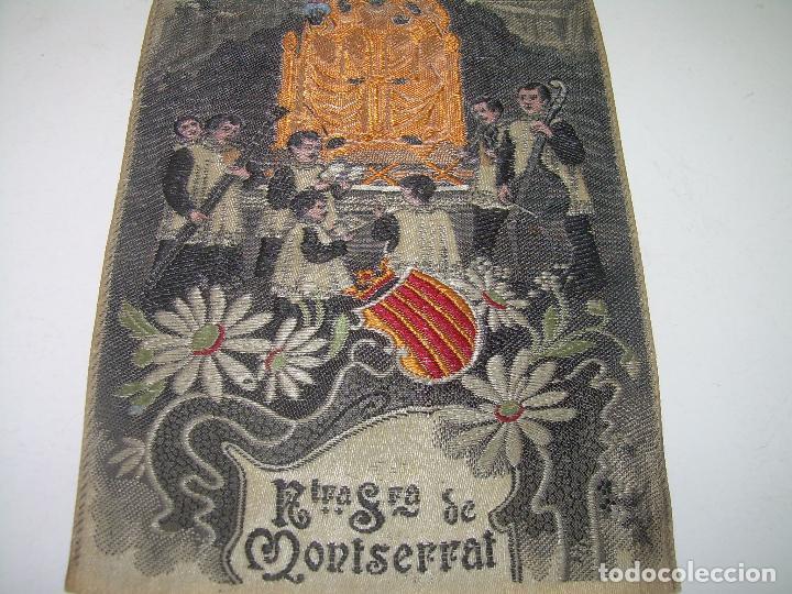 Antigüedades: ANTIGUO ESCAPULARIO DE TELA....NTA.SRA. DE MONTSERRAT..DE TELA..REALIZADO EN JACQUARD....AÑO..1.924. - Foto 3 - 94684975