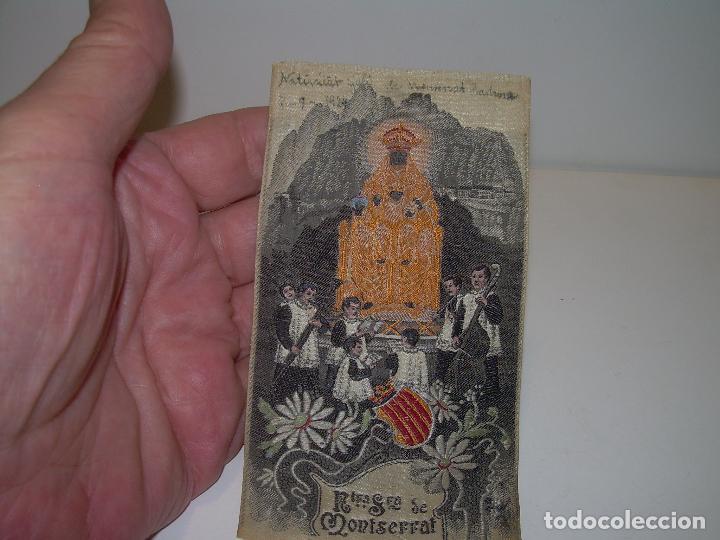 Antigüedades: ANTIGUO ESCAPULARIO DE TELA....NTA.SRA. DE MONTSERRAT..DE TELA..REALIZADO EN JACQUARD....AÑO..1.924. - Foto 5 - 94684975