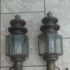 Antigüedades: FAROLES O FAROLILLOS DE CALESA, 8 LADOS, ELECTRIFICADOS. Lote 94734759