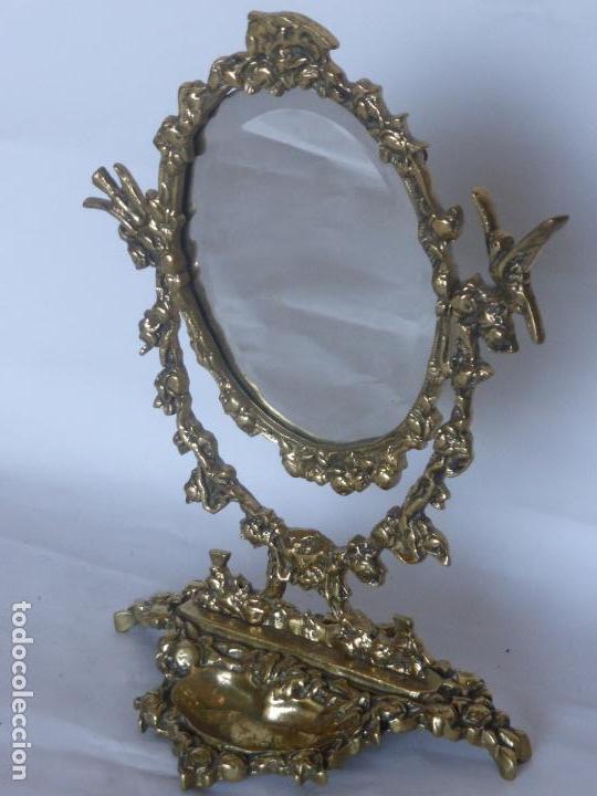 Antigüedades: ANTIGUO Y ELEGANTE ESPEJO CORNUCOPIA DE BRONCE ESTILO IMPERIO-BASE VACIABOLSILLOS-GIRATORIO-AÑOS 50- - Foto 2 - 94738463