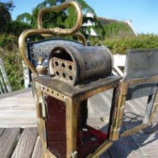 Antigüedades: MAGNIFICO RARO , ANTIGÜO FAROL FERROCARRIL SNFC LATON FIRMADO LAMPARA LINTERNA. Lote 94751471