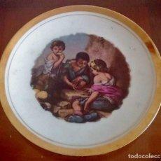 Antigüedades: PLATITO DECORATIVO PORCELANA FINA - REPRODUCCIÓN ÓLEO DE MURILLO - REF. 797. Lote 94751571
