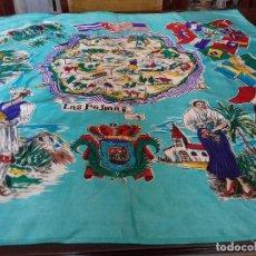 Antigüedades: ANTIGUO PAÑUELO RECUERDO DE LAS PALMAS, COLOR TURQUESA.. Lote 94754631
