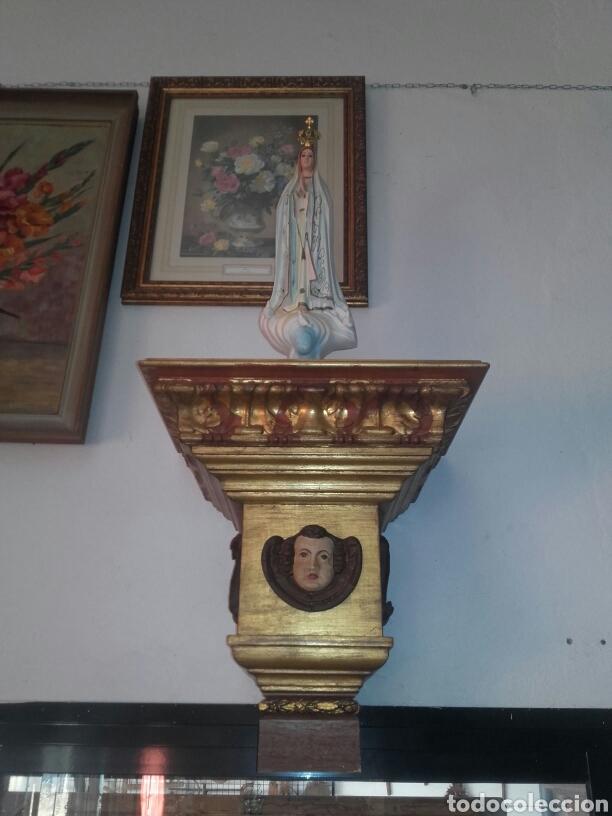 PEANA PAN DE ORO Y ANGEL PARA SANTO REPRODUCION (Antigüedades - Muebles Antiguos - Ménsulas Antiguas)